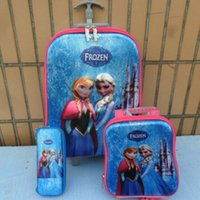 Wholesale Hot kids Frozen Luggage Children Snow Queen Elsa trolley case Travel Luggage Bags Three Piece Luggage Lunch Bag Pencil Box