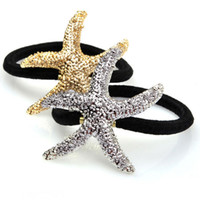 Wholesale Fashion Starfish star Pony Tails Holder rubber bands cuff for women kids gold silver Five pointed star Hair Jewelry accessories