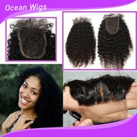 Wholesale 7A Lace Closure x4 Brazilian Cambodian Chinese Virgin Kinky Curly Human Hair Top Lace Closures Pieces With Baby Hair Hand Tied Closures