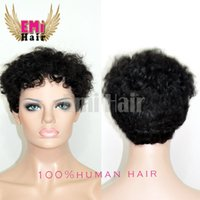 Cheap Celebrity Cheap Tight Curly Human Hair Wigs Brazilian Hair Very Short Natural Black Human None Lace Guleless Wig For Black Women