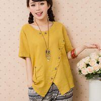 Wholesale kimono blusas femininas women summer casual cotton linen shirt button blouse plus size loose female tops national style WJ193