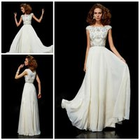 Wholesale 2015 Modest Bateau Neck Cap Sleeve Chiffon Beading Sequins Prom Dresses Floor Length Long Evening Gowns Cheap Formal Party Dress Custom Made