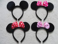 Wholesale 100pcs Children party Minnie Mouse Ears Hair Accessories Headwear headband