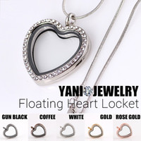 alloy heart locket - Heart Memory Locket Necklaces Rhinestone Floating Locket with Free Chain Mix Color mm