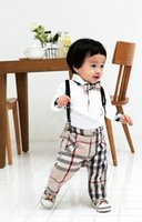 Cheap New Casual Baby Boy Autumn Fashion Design Boy Clothing Set Long Sleeve T-shirt With Bow Tie And Suspender Jeans Infant Clothes