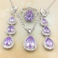 achat en gros de collier de mariage de la reine-Bijoux de mariage de mariée de mode ensembles cristaux de cristal autrichien Queen Water Drop pendentif collier boucles d'oreilles Set