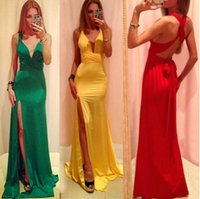 Wholesale 2015 Runway Dresses Women s High Quality Dresses Milk Silk Sexy Long Bondage Dress Side Split sexy evening party formal dresses V378