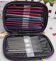 Wholesale 120set set Aluminum Crochet Hooks Needles Hook Needle Knit Weave Stitches Knitting Craft Case Kit