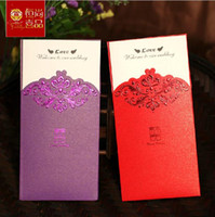 Cheap Wholesale 50pcs lot Free Shipping Red Flower Cut-out Wedding Invitation Card with Envelopes,Blank inside paper wedding party decoration