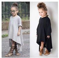 asymmetrical hem dress cotton - 2016 Autumn Newest Girl Dress Black And Gray Irregular Hem dress Long Sleeves Solid Dress For Kids Irregular Children Dress Kid Dress IA9E