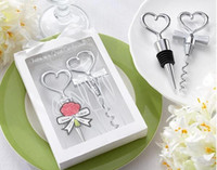 Wholesale Bride and Bridegroom Bottle Stopper and Opener Two Hearts Wine Favor Set Wedding Favor boxes