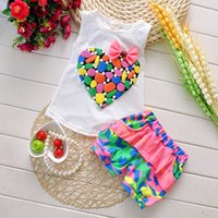baby girl clothing sets - New Baby Girls Clothes Set Summer Kids Love Print T shirt And Shorts Pants Flower Sleeveless Set Children Clothes Sets Toddler Outfits
