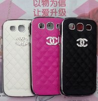chrome green - GALAXY S3 Case Luxury Grid Leather Rhinestone Chrome Hard Cases for SAMSUNG SIII I9300 Cell Phone Accessories Back Cover Skin Case Fashion
