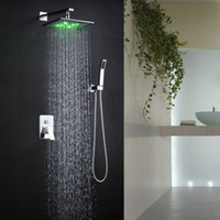 Wholesale 10 inches bathroom shower faucets factory supply high quality square wall mounted led light bathroom shower faucets