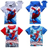 Wholesale Summer Baby Boys Spiderman T Shirts Cartoon The Avengers Catton Hoodies Tee Tops Children Print Casual Clothing Styles
