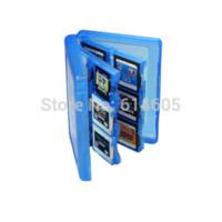 Azul 28-en-1 Juego de la tarjeta de memoria de la cubierta de la caja de titular Cartucho de almacenamiento para Nintendo 3DS cartucho para camión de almacenamiento