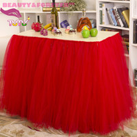 Wholesale Red cm height polyester mesh table decorations for baby shower
