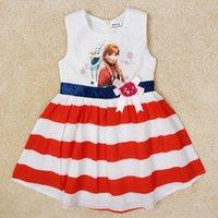 Wholesale New Brand girls dress baby kids girl sleeveless dress frozen casual striped kids clothes