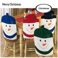 Wholesale New Chair Cover Christmas Snowman Dining Kitchen Chair Back Cover Set Christmas Decorations Holiday Decor