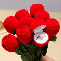 Ring Velvet Valentine's Day 10 Pcs Red Rose Ring box Velveteen Flower Jewelery Engagement Cute Gift Box Wedding Favors Suppliers jewelry Bag Ring Holder Valentine Gift