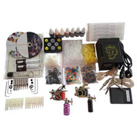 Wholesale Basekey Tattoo Kit Gun Machine With Power Supply Grips Back Stem Tube Color Ink Cups Needles