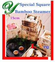 bamboo basket - Bamboo Steamer wood square inch bento lunch box cabinet Basket Rice Pasta fish Healthy Cooker cooking tools food container