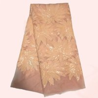 sequin fabric - Beautiful flower sequins pattern wedding lace peach African mesh lace cloth French net lace fabric QN14