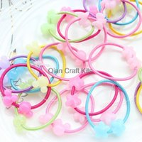 beaded ponytail - 200pcs Ponytail Holder Hair Elastic Tie with kawaii Flower scottie dog mouse lucited beaded mix set