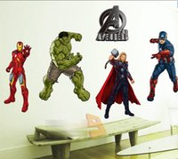 Wholesale 2015 The Avengers Sticker Iron Man Thor Batman Spider Man Captain America Wall Windon Glasses Stickers Home Decorate EMS D4522