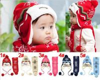baby earflap hat knitting pattern - 1 Set Christmas Child Winter Cap Scarf Set Kids Snow Pattern Knitted Cap With Earflap Warm Hat For Years Baby
