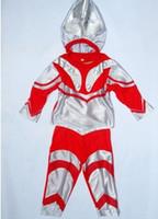 al por mayor reproducir ropa de niño-Traje de Halloween de los niños, 3-7 años Ultraman del cabrito Cosplay del partido, muchacho Role-Playing la ropa, traje del fantasma del cabrito, envío libre