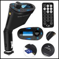 Nuevo Kit Car MP3 reproductor inalámbrico Transmisor FM Modulador wma inalámbrico USB SD MMC LCD con control remoto azul / rojo Luz DHL