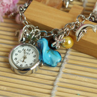 Wholesale Great Gift Glamour Charm Chain Retro Bracelet Cuff Wrist Watch cute Dolphin Quartz China Ladies watches luxury H8636