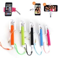 bear audio - Extendable Handheld Wired Selfie Stick Built in Shutter Mount Holder Audio for Iphone for Samsung IOS Android system
