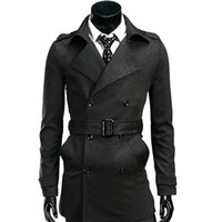 Mens Pea Coat With Belt - Sm Coats
