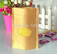 bean bags store - 100PCS Zip Top Kraft paper bean candy coffee bags stand up with open round window can custom your store logo