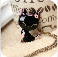 vintage costume jewelry - New Cheap Costume Jewelry Cute Blace Vintage Cat Pendant Sweater Necklace D16R7