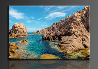 Cheap Seawater and stones under a blue sky,1 Panels Set HD Canvas Print Painting Artwork,, decorative painting canvas wall art modern