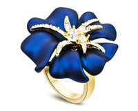 real diamond ring - 2 Color Enamel Flower Rings Korean Fashion Lady Retro Jewelry with Top CZ Diamond Real Rose Gold Plated Perfume Women Christmas Ring RJZ0086