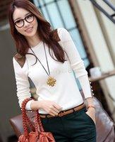 Cheap Hot Popular Elegant Cozy T Shirt Women Shirt Spring Autumn Sexy Tops Tee Clothes Patchwork T-Shirt Button Blouses 25