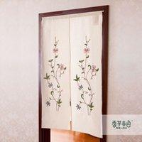 Wholesale Embroidery rustic fabric curtain handmade flower fashion semi shade door curtains