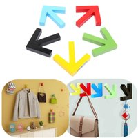 best wood doors - Best Price Mordern Design Wall Mounted Colour Painting Wood Arrow Hook Hanger Hat Coat Door Clothes Rack Decoration