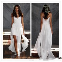 sexy mini wedding dress - Chiffon Beach Wedding Dresses Strapless Wedding Gowns Sexy Floor length Bridal Gowns Backless Short Mini