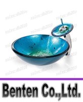 Wholesale B2015 Hot athroom tempered Glass Vessel Vanity print color Sink bowl with faucet LLFA4192F