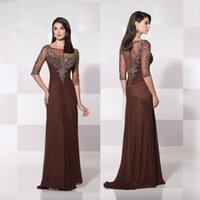 Wholesale Fashion Brown Mother of the Bride Dresses With Sheer Jewel Neck Half Illusion Sleeve Backless Vintage Lace Chiffon Prom Evening Gowns