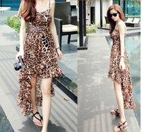 Cheap 2015 Women Sexy Leopard Fishtail style sling Hi-Lo Maxi dress Summer Fashion European Style Long Club Runway Casual Dresses women clothing