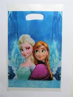 Wholesale Christmas Gift Frozen Bag Princess Anna Elsa Theme Printing Plastic Hand Length Handle Loot Lolly Bag Shopping Gift Bag Packages Packaging