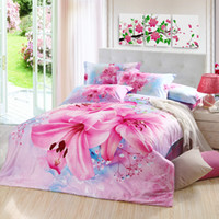 Home beauty lily - Beauty lily flower queen king bedroom comforter bedding sets bed linens with cotton reversible duvet quilt cover flat sheet pc coverlets