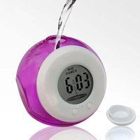 battery powered digital alarm clock - 2016 Energy Saving Water Powered Alarm Clock Waterproof Digital Clock Round Shape Creative Stuff For Office Table Desk Not Required Battery