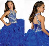 Wholesale 2014 New Girl s Pageant Dresses with Spaghetti Straps Organza Ruffles Rhinestones Beaded Top Princess Ball Gown Flower Girls Dresses RG6682